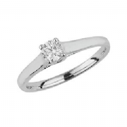 9ct White Gold 0.35ct Solitaire Diamond Ring Four Claw crossover style mount